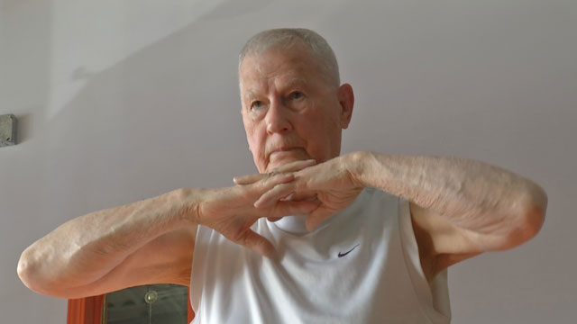 Veteran, 92, attributes calm strength, vitality to Bikram yoga